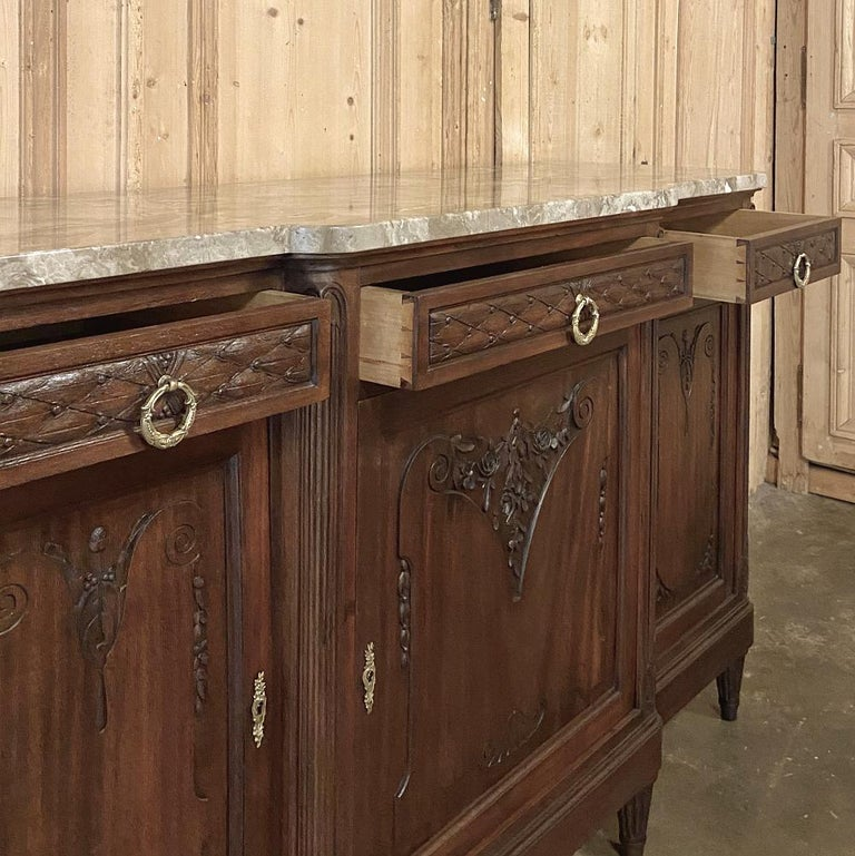 Antique French Louis XVI Mahogany Marble-Top Buffet For Sale 4