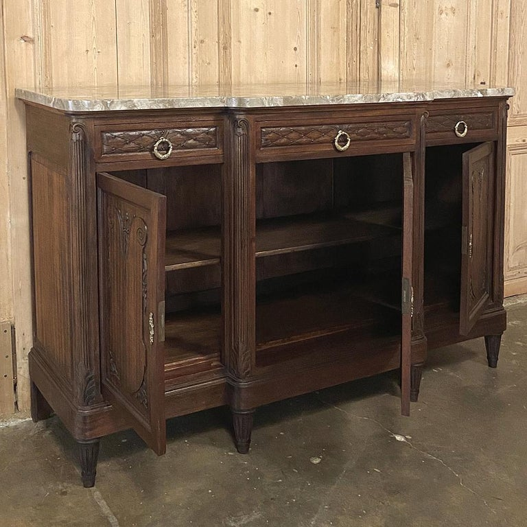 Antique French Louis XVI Mahogany Marble-Top Buffet For Sale 5