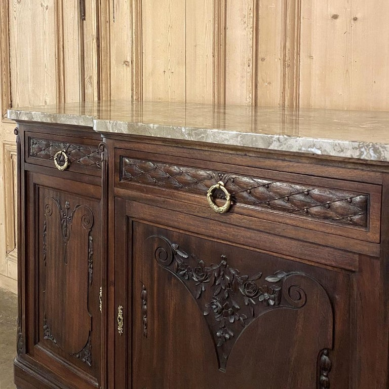 Antique French Louis XVI Mahogany Marble-Top Buffet For Sale 6