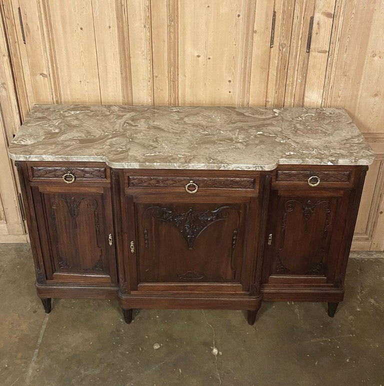 Antique French Louis XVI Mahogany Marble-Top Buffet For Sale 8