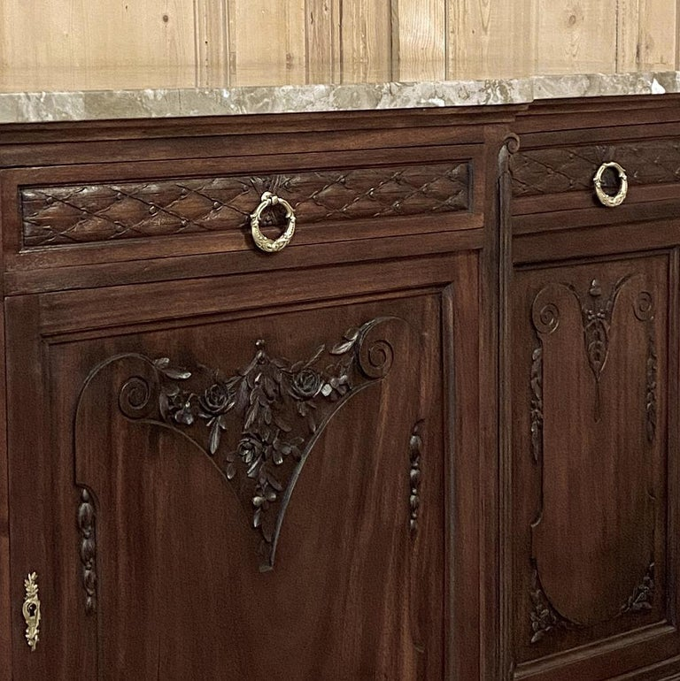 Antique French Louis XVI Mahogany Marble-Top Buffet For Sale 1