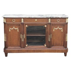 Antique French Louis XVI Mahogany Marble Top Buffet with Bronze Mounts