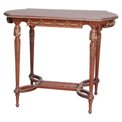 Antique French Louis XVI Mahogany Side Table with Ormolu Mounts, circa 1900