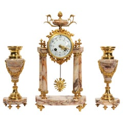 Antique French Louis XVI Marble and Ormolu Portico Clock Set