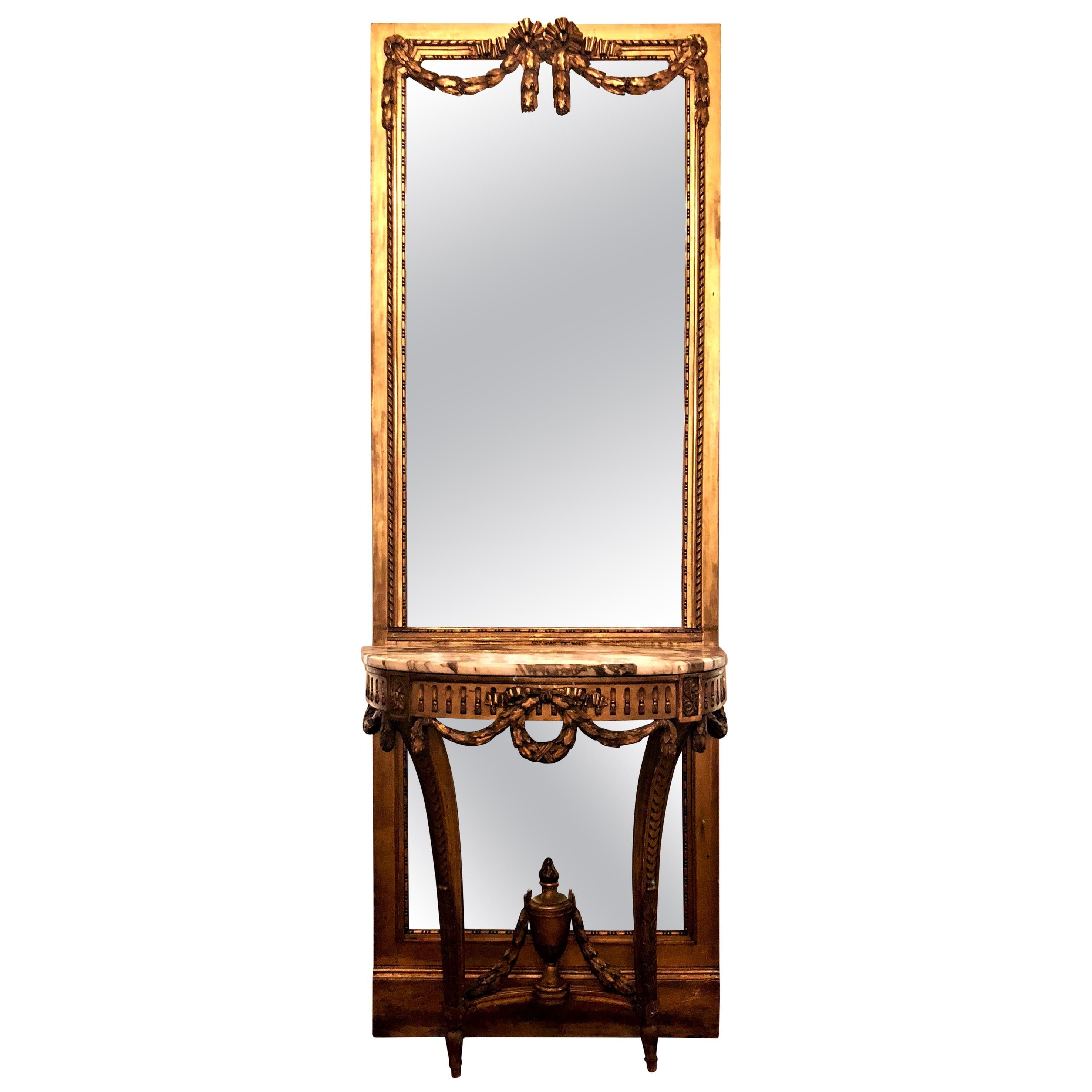 Antique French Louis XVI Marble-Top Giltwood Console Table and Mirror circa 1860