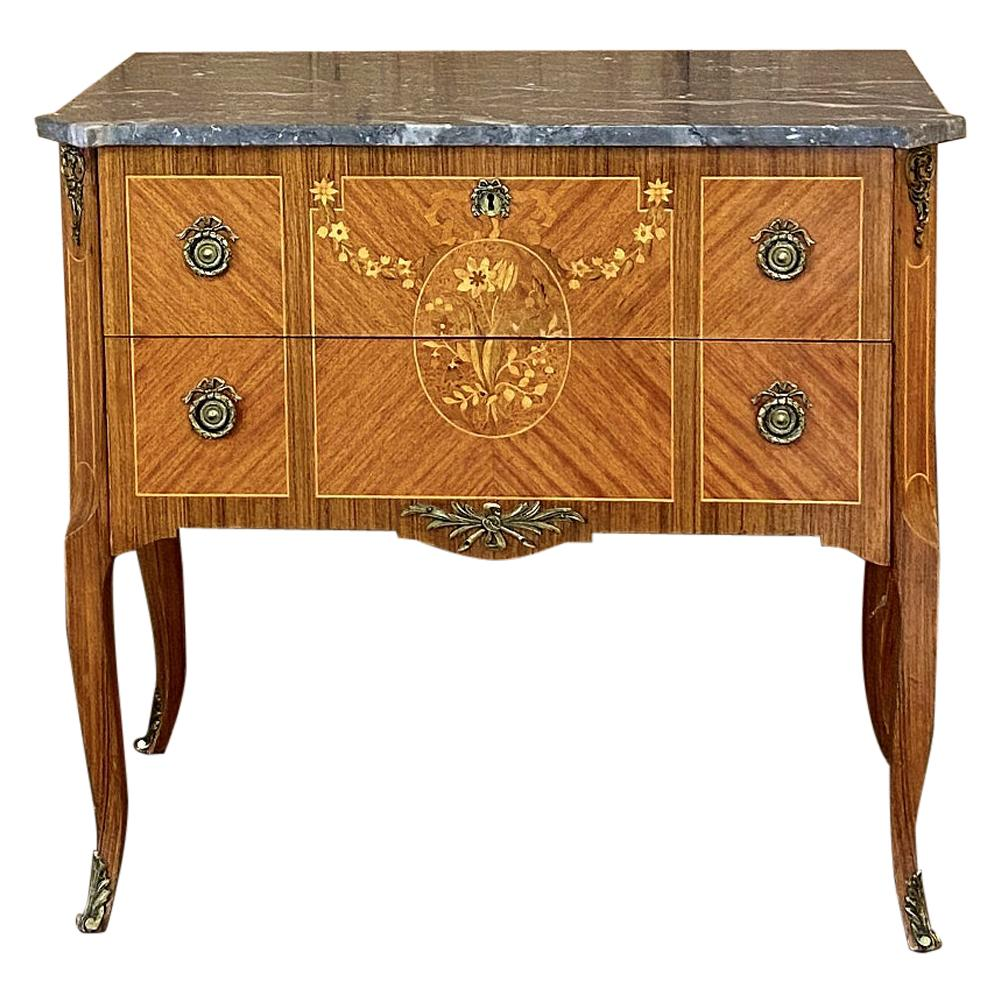 Antique French Louis XVI Marble-Top Marquetry Commode