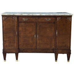 Antique French Louis XVI Marble-Top Walnut Buffet