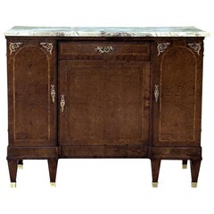 Antique French Louis XVI Marble Top Walnut Buffet