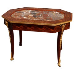 Antique French Louis XVI Marquetry, Rouge Marble & Figural Ormolu Low Table 1890