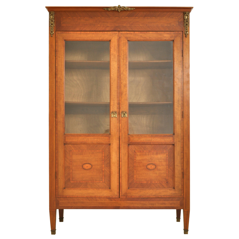 Antique French Louis XVI Marquetry Walnut Ormolu Bibliotheque Bookcase 1880