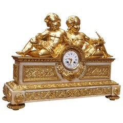 Antique French Louis XVI Museum Quality Ormolu and Marble Clock, circa 1880