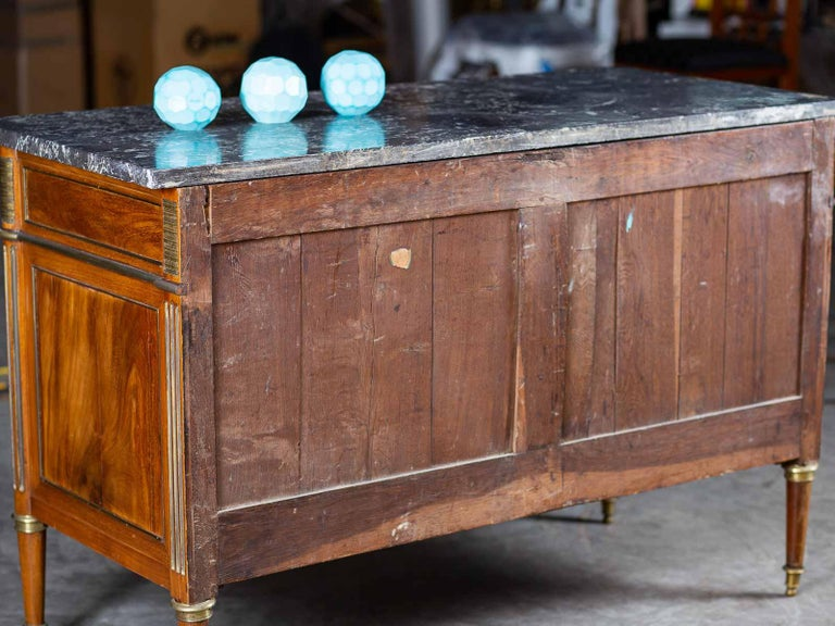 Antique French Louis XVI Neoclassical Walnut Brass Chest Commode Marble-Top For Sale 8