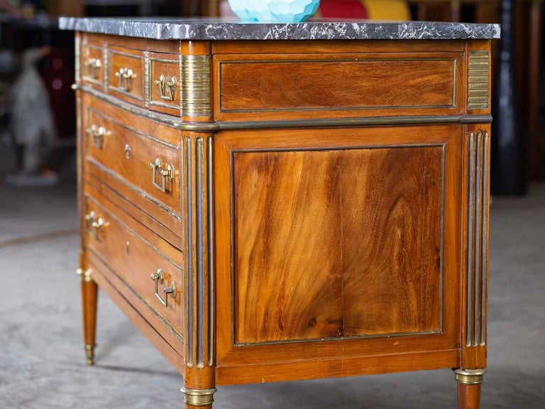 Late 18th Century Antique French Louis XVI Neoclassical Walnut Brass Chest Commode Marble-Top For Sale