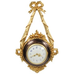 Antique French Louis XVI Ormolu and Bronze Cartel Wall Clock