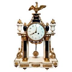 Antique French Louis XVI Ormolu and Marble Mantel Clock, circa 1850-1860