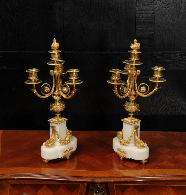 Antique French Louis XVI Ormolu and White Marble Candelabras For Sale 6