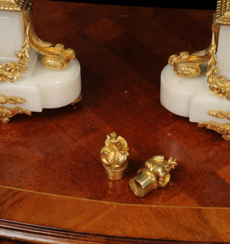 Antique French Louis XVI Ormolu and White Marble Candelabras For Sale 10
