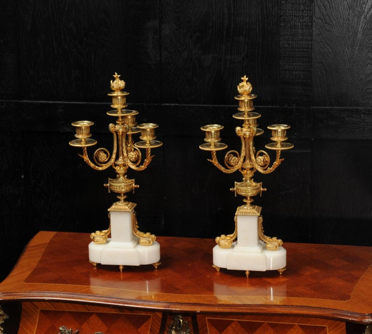 Antique French Louis XVI Ormolu and White Marble Candelabras For Sale 11