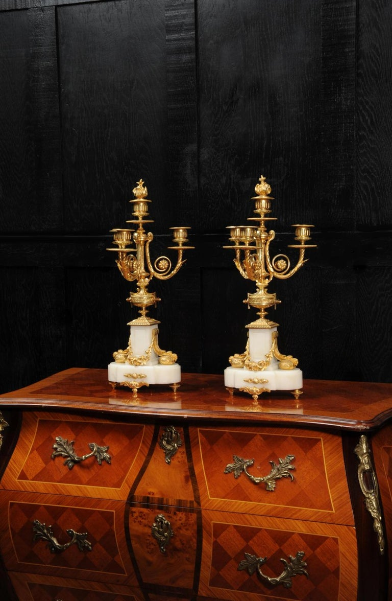 Antique French Louis XVI Ormolu and White Marble Candelabras In Good Condition For Sale In Belper, Derbyshire