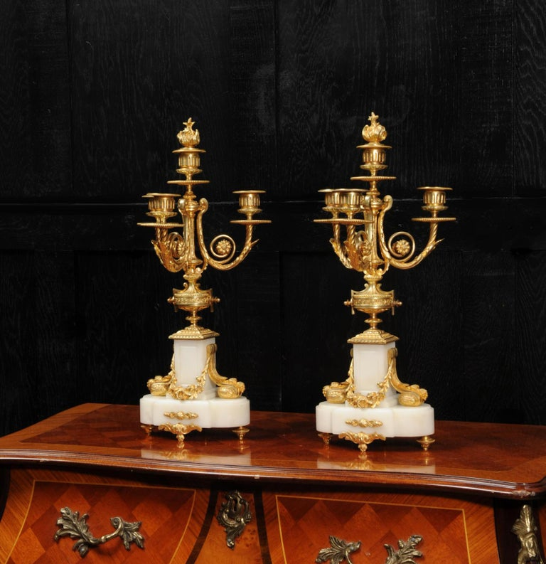 Antique French Louis XVI Ormolu and White Marble Candelabras For Sale 2