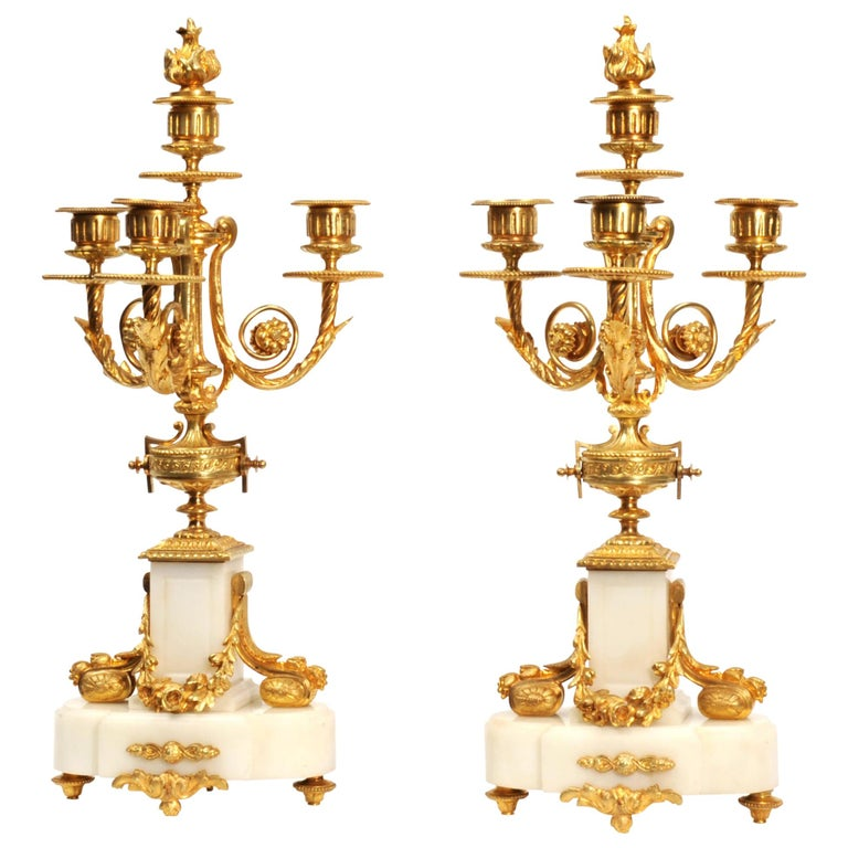 Antique French Louis XVI Ormolu and White Marble Candelabras For Sale