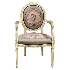 Antique French Louis XVI Painted Armchair with Needlepoint Tapestry
