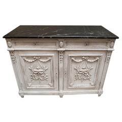 Antique French Louis XVI Painted Buffet with Faux Marble Top