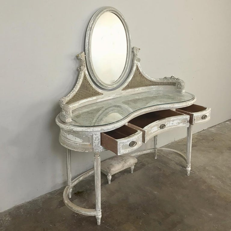 20th Century Antique French Louis XVI Painted Vanity For Sale