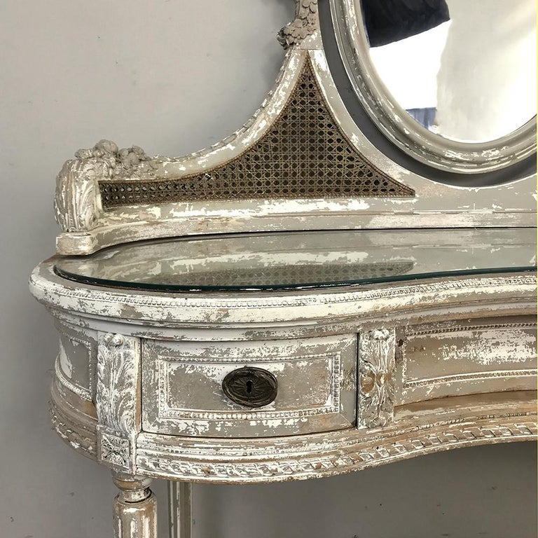 Antique French Louis XVI Painted Vanity For Sale 2