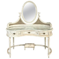 Antique French Louis XVI Painted Vanity