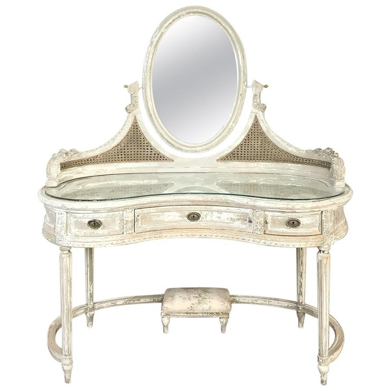 Antique French Louis XVI Painted Vanity For Sale