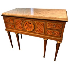 Antique French Louis XVI Parquetry Inlaid Marble-Top Commode