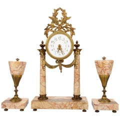 Antique French Louis XVI Rouge Marble and Bronze Garniture Clock Set, circa 1890