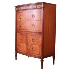 Antique French Louis XVI Satinwood and Mahogany Highboy Dresser by Saginaw