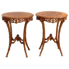 Antique French Louis XVI Satinwood & Rosewood Marquetry Side Tables, c 1930