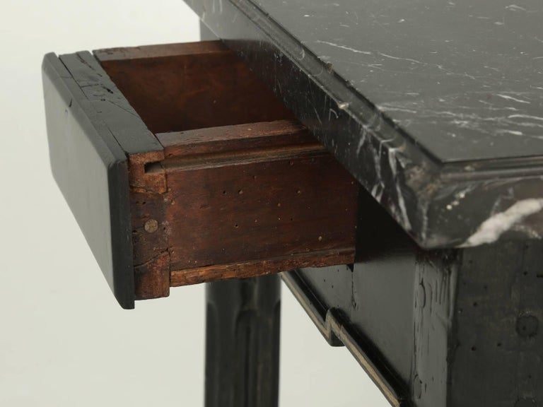 Antique French Louis XVI Side or End Table, Ebonized with a Marble Top In Good Condition For Sale In Chicago, IL