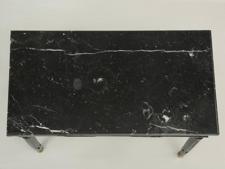 Late 18th Century Antique French Louis XVI Side or End Table, Ebonized with a Marble Top For Sale