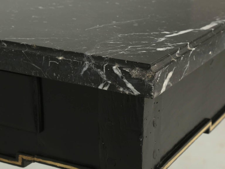 Antique French Louis XVI Side or End Table, Ebonized with a Marble Top For Sale 3