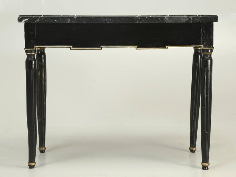 Antique French Louis XVI Side or End Table, Ebonized with a Marble Top For Sale 4