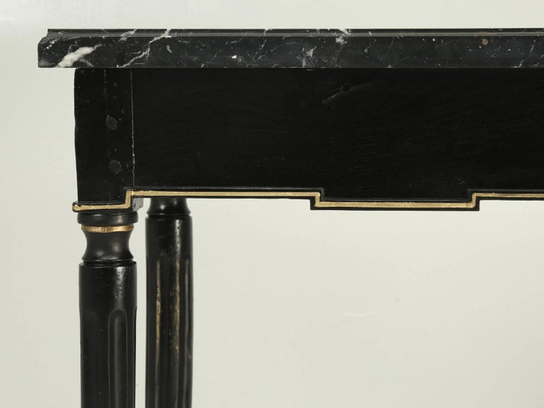 Antique French Louis XVI Side or End Table, Ebonized with a Marble Top For Sale 5