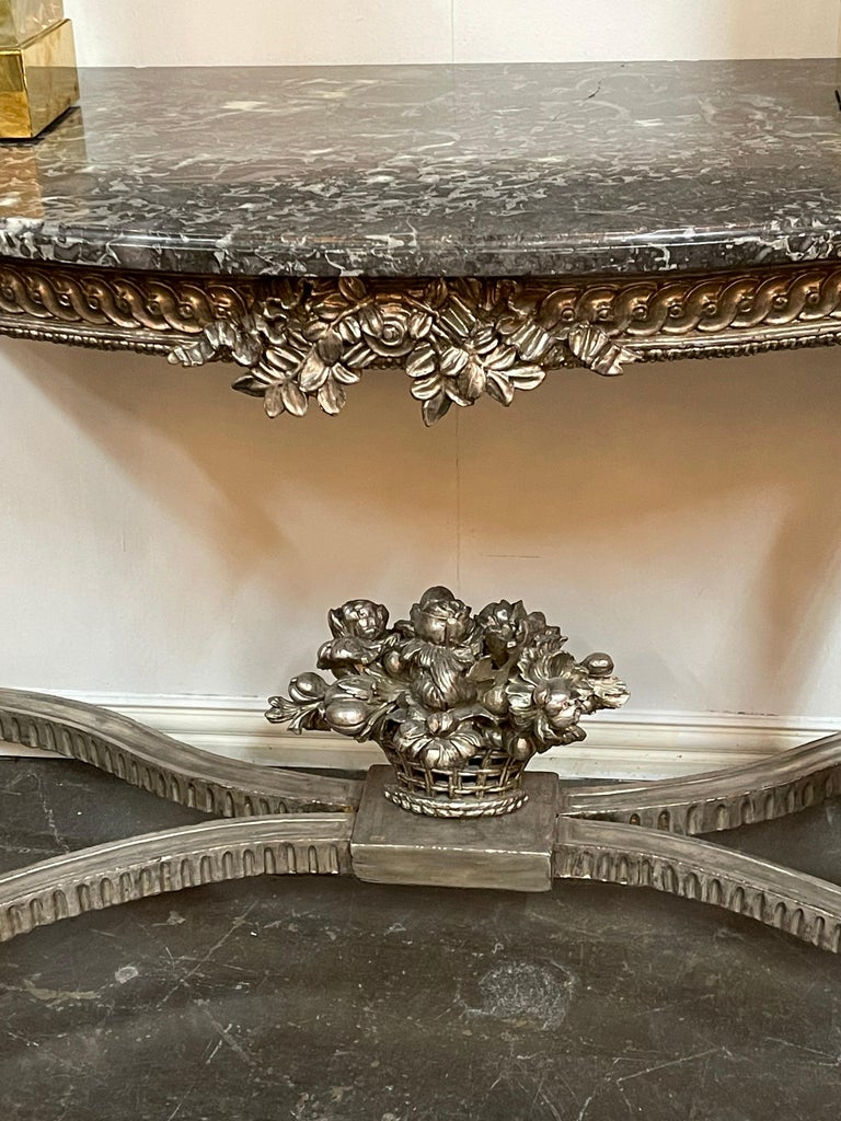 Silvered Antique French Louis XVI Silver Gilt Console For Sale