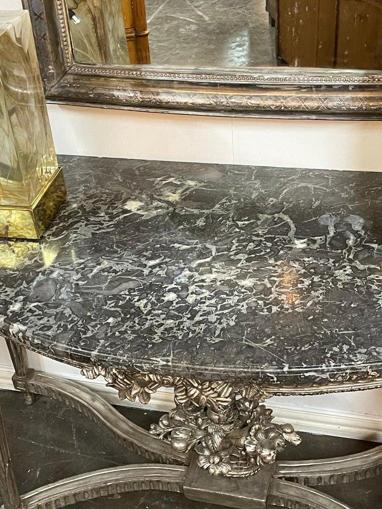Antique French Louis XVI Silver Gilt Console In Good Condition For Sale In Dallas, TX