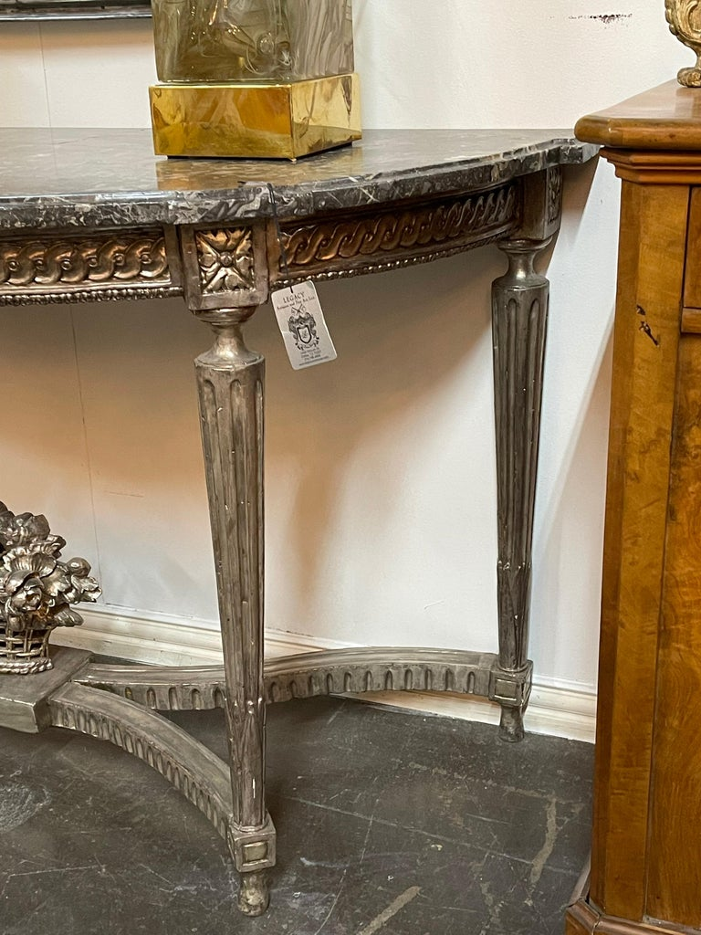 Mid-19th Century Antique French Louis XVI Silver Gilt Console For Sale
