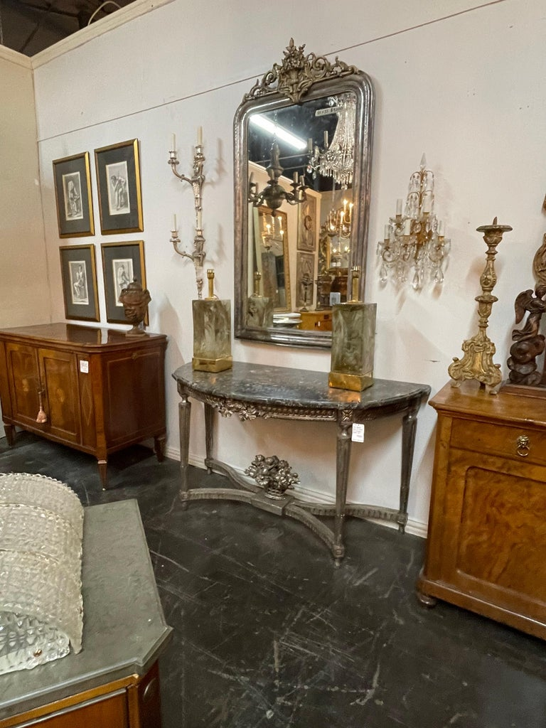 Marble Antique French Louis XVI Silver Gilt Console For Sale