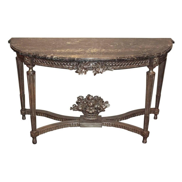 Antique French Louis XVI Silver Gilt Console For Sale