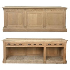 Antique French Louis XVI Stripped Store Counter