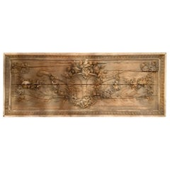 Antique French Louis XVI Style 19th Century Ribbon and Floral Carved Wall Plaque