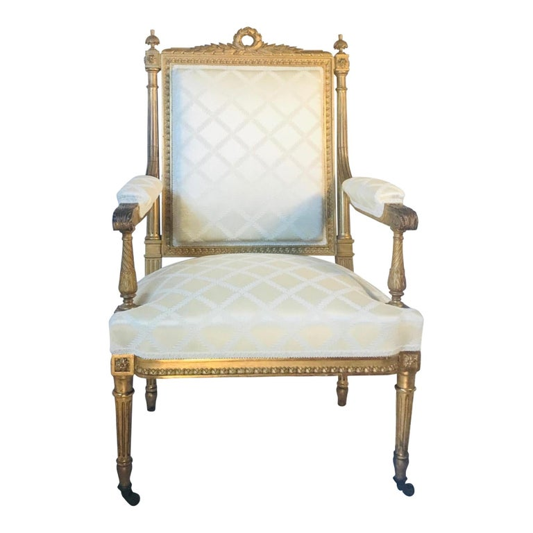 Antique French Louis XVI style armchair a la reine after Georges Jacob 19th century.
