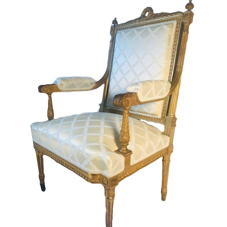 Carved Antique French Louis XVI Style Armchair a La Reine For Sale
