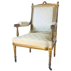 Antique French Louis XVI Style Armchair a La Reine